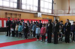 全校児童で校歌斉唱