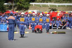 蔵川消防団競技の様子