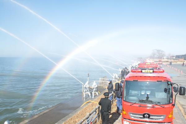 『20180106消防出初式 一斉放水』の画像